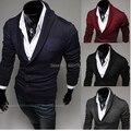 Envío gratis 2014 nuevo otoño invierno suéter de Los Hombres gira el collar abajo y chaquetas de punto suéteres de los hombres con un solo pecho tamaño M-2XL