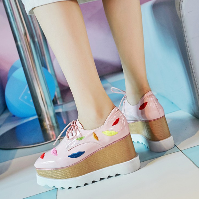 Las Lace Charol Toe Wedge Bombas Plataforma Black De pink Zapatos Cuadrados Moda Nuevo Mujeres Mujer Cuero Up AHtxw871