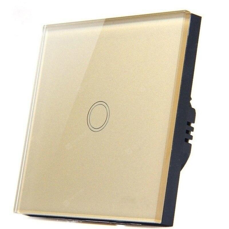 Interruptor de toque padrão da ue interruptor de luz de parede do painel de vidro cristal, ac220v, 1 gang 1 maneira branco/preto/ouro para a luz do diodo emissor de luz
