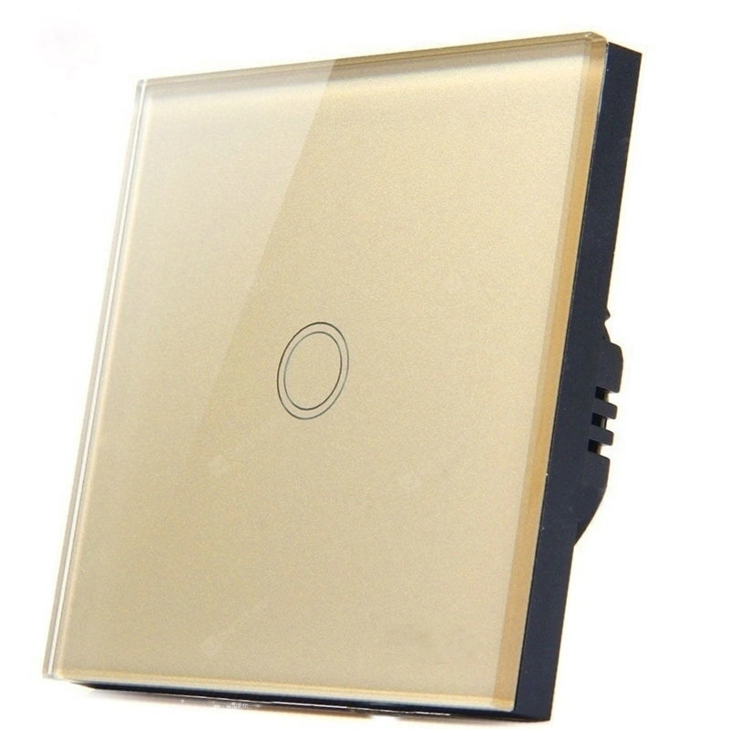 Interruptor táctil interruptor estándar europeo interruptor de luz de pared de Panel de cristal, AC220V, 1 Gang 1 Way Blanco/Negro/dorado para luz Led