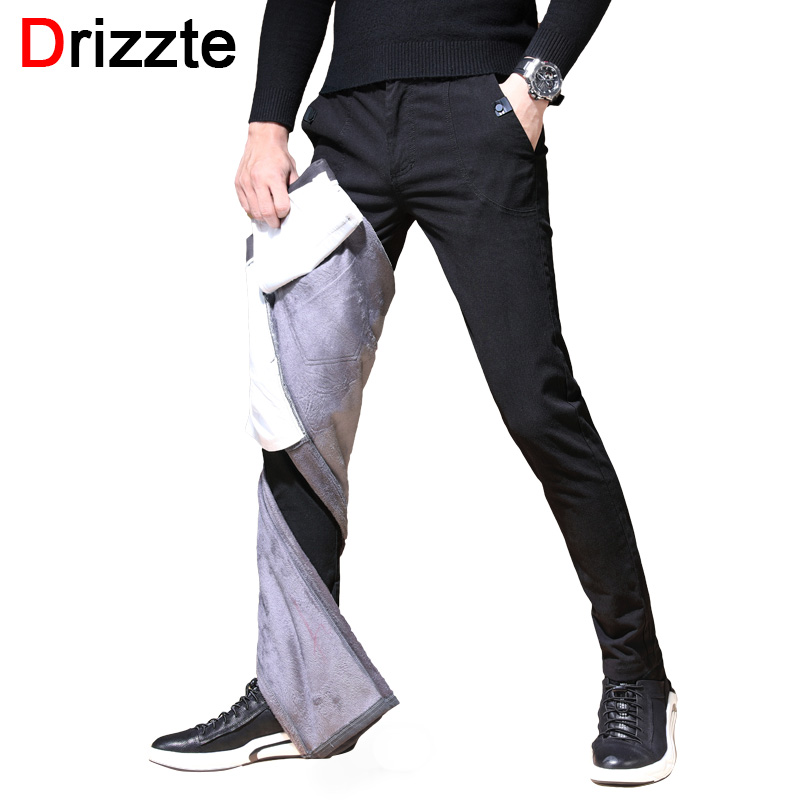 Drizzte Winter Mens Pants With Fleece Dress Pants Flannel Lined Black Grey Blue Trousers Casual Slacks Pants for Work