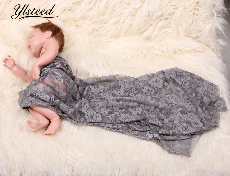 125*50cm Stretch Newborn Lace Wrap Baby Photo Prop Cocoon Baby Wrap Set Lace Rug Baby Studio Props Photography Fabric Backdops