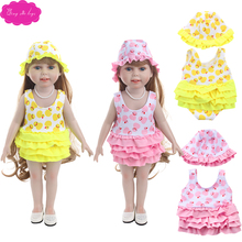 18 inch Girl dolls Clothes cute duckling swimsuit + hat jumpsuits American newborn dress Baby toys fit 43 cm baby c751