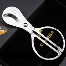 1 шт. Cohiba Нержавеющая Сталь Серебряный ножничный сигары резак нож ломтик ножницы для куба c328