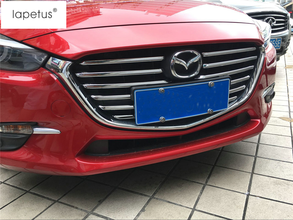 Accessories For Mazda 3 AXELA Sedan Hatchback 2017 2018 Front Head Grille Grill Decoration Strip Molding Cover Kit Trim 12 Piece