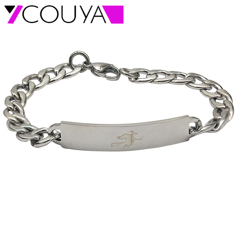 2017 Stainless Steel DIY Bracelet Halloween Custom Jewelry Laser Writing  Witch Enchanter Silver Charm Bracelet   Bangles 1755a860f4c
