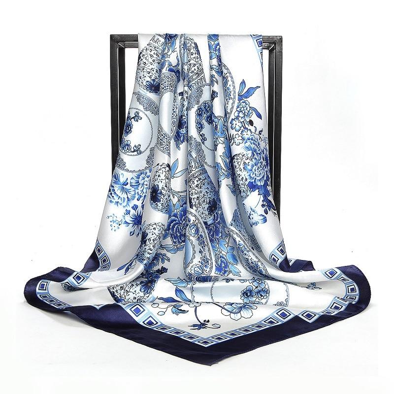 POBING Women Silk   Scarf   Blue White Floral Print Square Head   Scarves     Wraps   Luxury Brand Female Foulard Satin Large Hijab 90*90cm