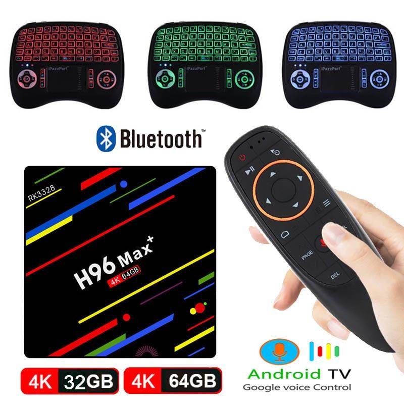 H96 MAX PLUS TV BOX RK3328 Smart 4 K HD 4G 64G Android 8.1 Quad Core Google boîte de contrôle vocal avec clavier rétroéclairé