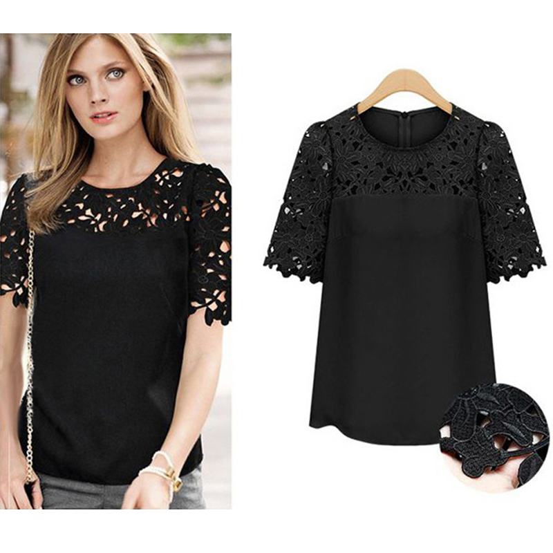 2016 Summer Women Chiffon Blouse White Lace Peplum Blouse Round Neck Short Sleeve Female Tops Shirts Clothing Plus Size S-5XL 10