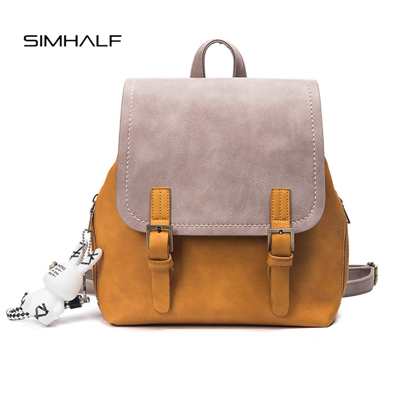 SIMHALF New Leather Backpack For Teenage Girls Mochila 2017 School Backpack Hit color wild leisure new