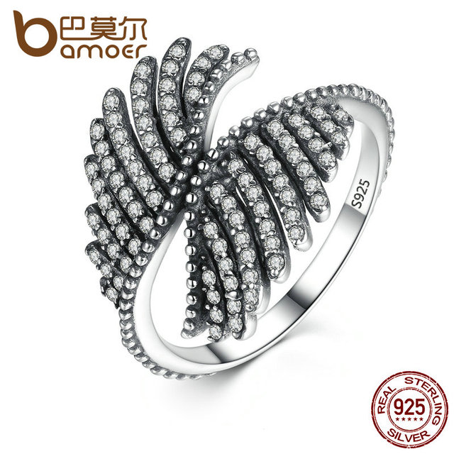 new 925 Sterling Silver PHOENIX FEATHER SILVER RING WITH CLEAR CUBIC Ring Women Engagement Fine Jewelry