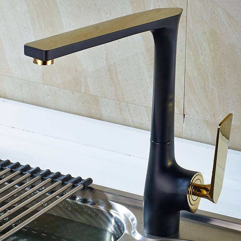 SHAI Gold Colors Handle Kitchen Faucets Good Quality Body Baking Varnish Mixer Tap Kitchen Appliance Wather Tap Basin Faucet-in Kitchen Faucets from Home Improvement    1