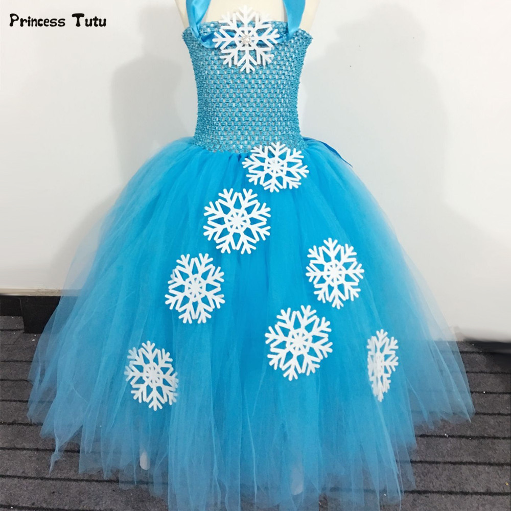 Children Girls Princess Elsa Tutu Dress Blue Snow Flake Baby Girl Birthday Party Dresses Kids Girls Halloween Christmas Costumes black cold shoulder lace up t shirts