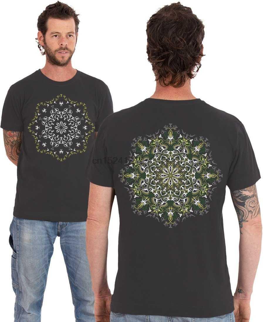 e79eeae41cc2 Psychedelic T shirt Lotus Mandala Screen Printed Burning Man Festival  Clothing Mens T-shirt Glow