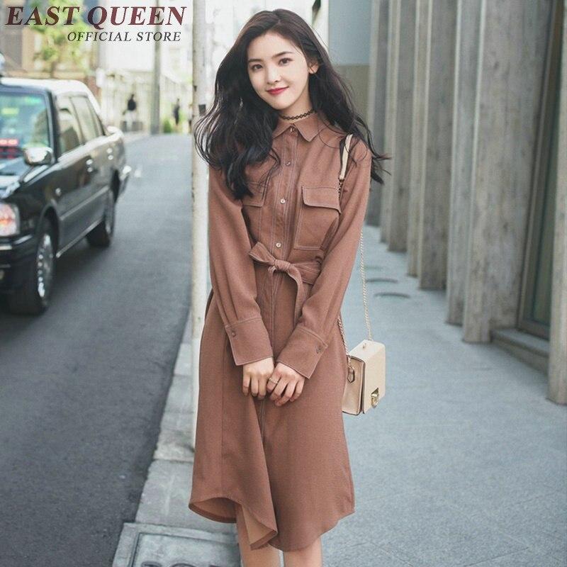 Style Lose G Korean Color Hemd Casual Herbst Langarm Langes Neue Solid Kleid 2018 Wilde 5LA43Rj
