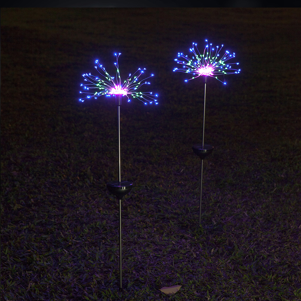 2/3pcs Yard Led Colorful Waterproof Garden Copper Wire Firework Lawn Lamp Holiday Solar Powered Decorative Outdoor Landscape