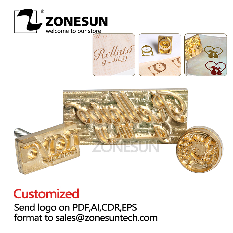 ZONESUN Embossing Mould Metal Brass Wood Leather Stamp Custom Logo Design Tool Branding Plates Plastic Cake Bread Mold Heating custom seal stamp logo leather mold die carving tool foil embossing brass copper stamping machine mold