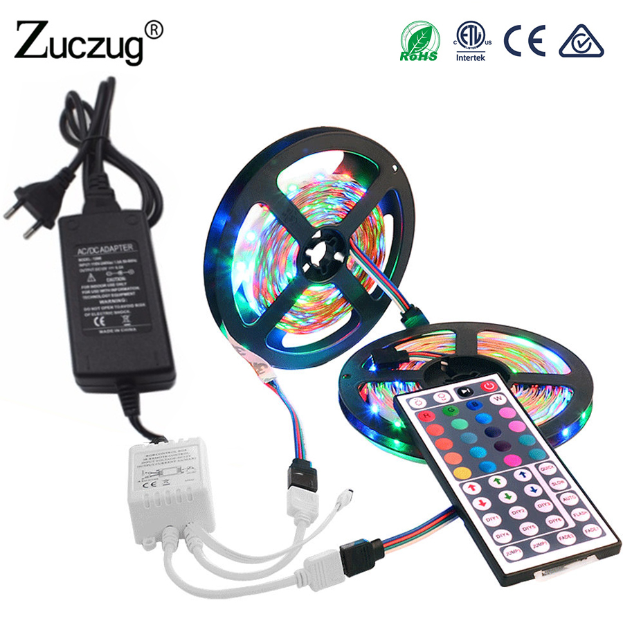 12 v RGB LED Strip Light 5050 2835 5m 10m No Waterproof tape diode ribbon LEDstrip Lamp Controller AC 220V DC 12V adapter set 12 v rgb led strip light 5050 2835 5m 10m no waterproof tape diode ribbon ledstrip lamp controller ac 220v dc 12v adapter set