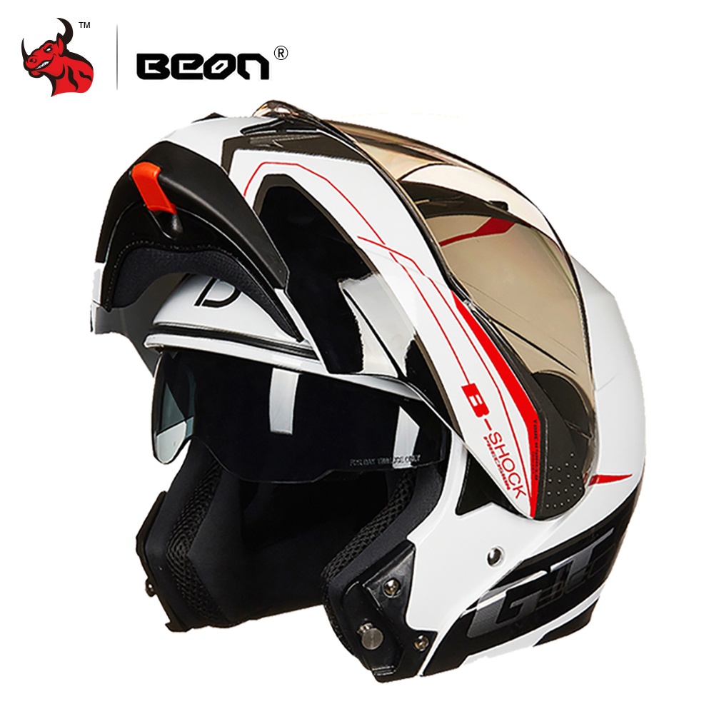 BEON Motorcycle Helmet Casco Moto Filp Up Motorbike Capacete Double Visor Full Face Racing Motocross Helmet for Men Women