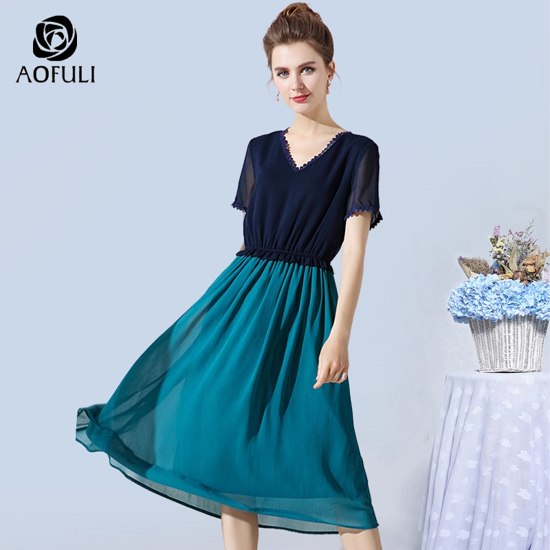 AOFULI L XXXL 4XL 5XL Elegant Women Patchwork Chiffon Dress Summer Blue Green Short Sleeve Midi