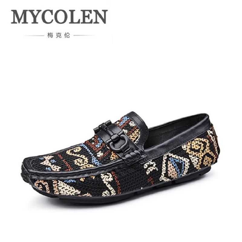 Impreso Los Mocasines Mycolen Zapatos Hombres Clásico Moda Plano Ocasional A De Nuevo Multiple Boda Mano Estilo Negocio Tamaño Partido Del Hecho qgwawXSx