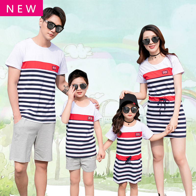 2018 Summer time Household Matching Outfits Vogue Quick Sleeve Striped Mom And Daughter Gown Dad Son Quick Sleeve T Shirt Units Aliexpress, Aliexpress.com, On-line purchasing, Automotive, Telephones & Equipment,...