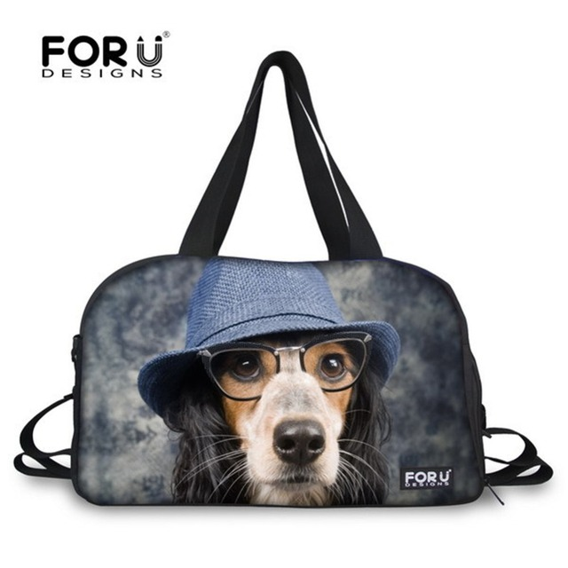 d562dd5eb438 Brand Designer Handbags Cute Dog Face Women Large Travel Bag Female Tote  Canvas Travelling Duffel Bag Weekend Luggage Bag Retail