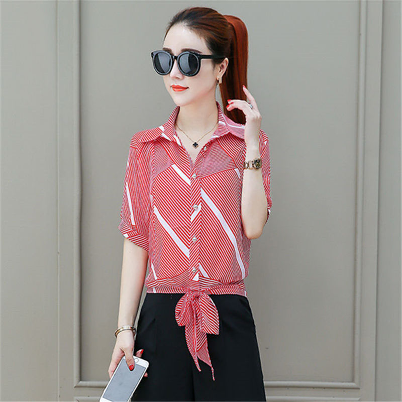 Chiffon   Shirt   Female Summer   Blouse   New Bat Short-sleeved   Shirt   Women Loose Stripes   Blouse     Shirts   Women Top DF2589