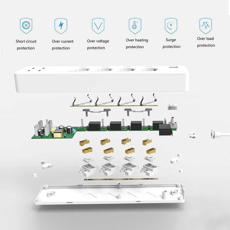 Inteligentna listwa zasilająca WiFi zabezpieczenie przeciwprzepięciowe z 4 inteligentne wtyczki 4 porty USB przedłużacz, praca z Alexa i Google asystent