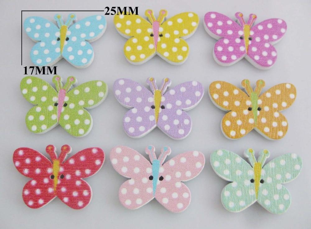 25 mm Assortiment 15 x Jardin Papillon En Bois Craft boutons 18 mm