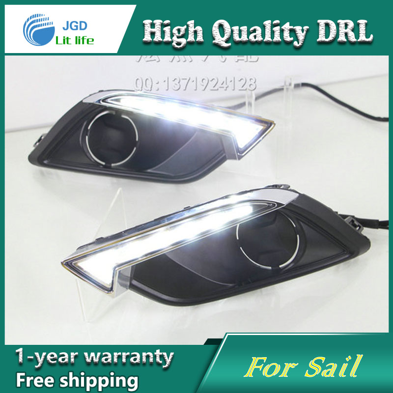 Free shipping !12V 6000k LED DRL Daytime running light case for Chevrolet Sail 2015 fog lamp frame Fog light Car styling