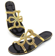 doershowSelling fast Italy ladies s shoes African women low heeled sandal and matching bags with stone