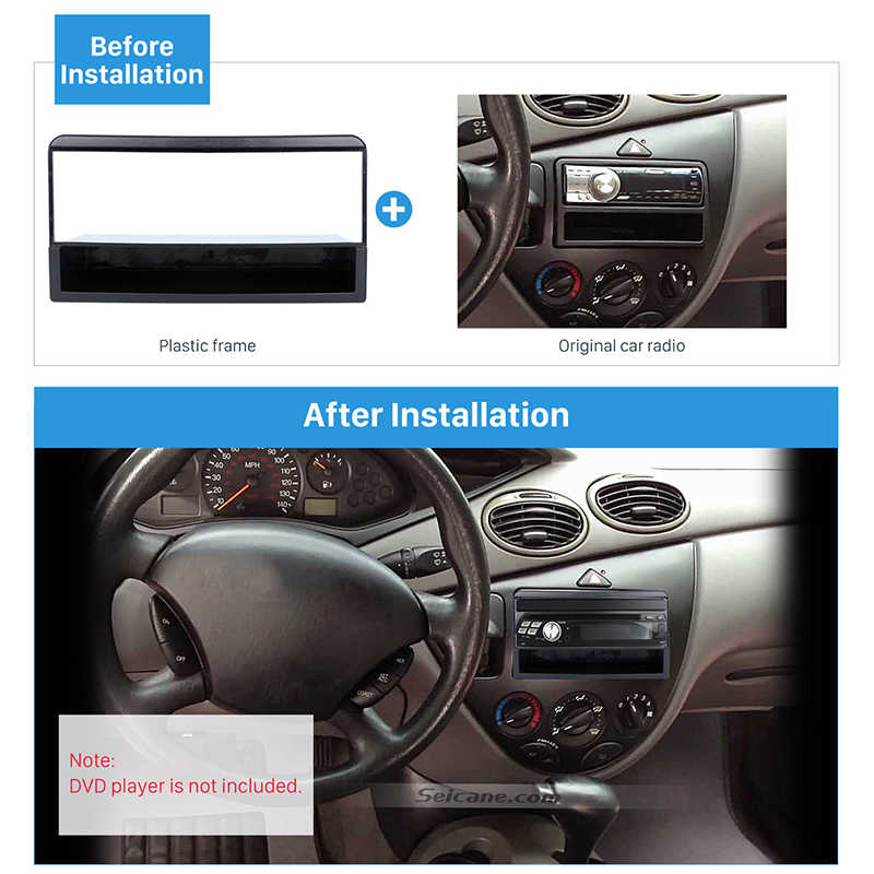 Seicane One 1Din Installation Panel Kit Trim Stereo Dashboard Auto Mount Frame Car Stereo Fascia for 1998-2006 Ford Fiesta Focus