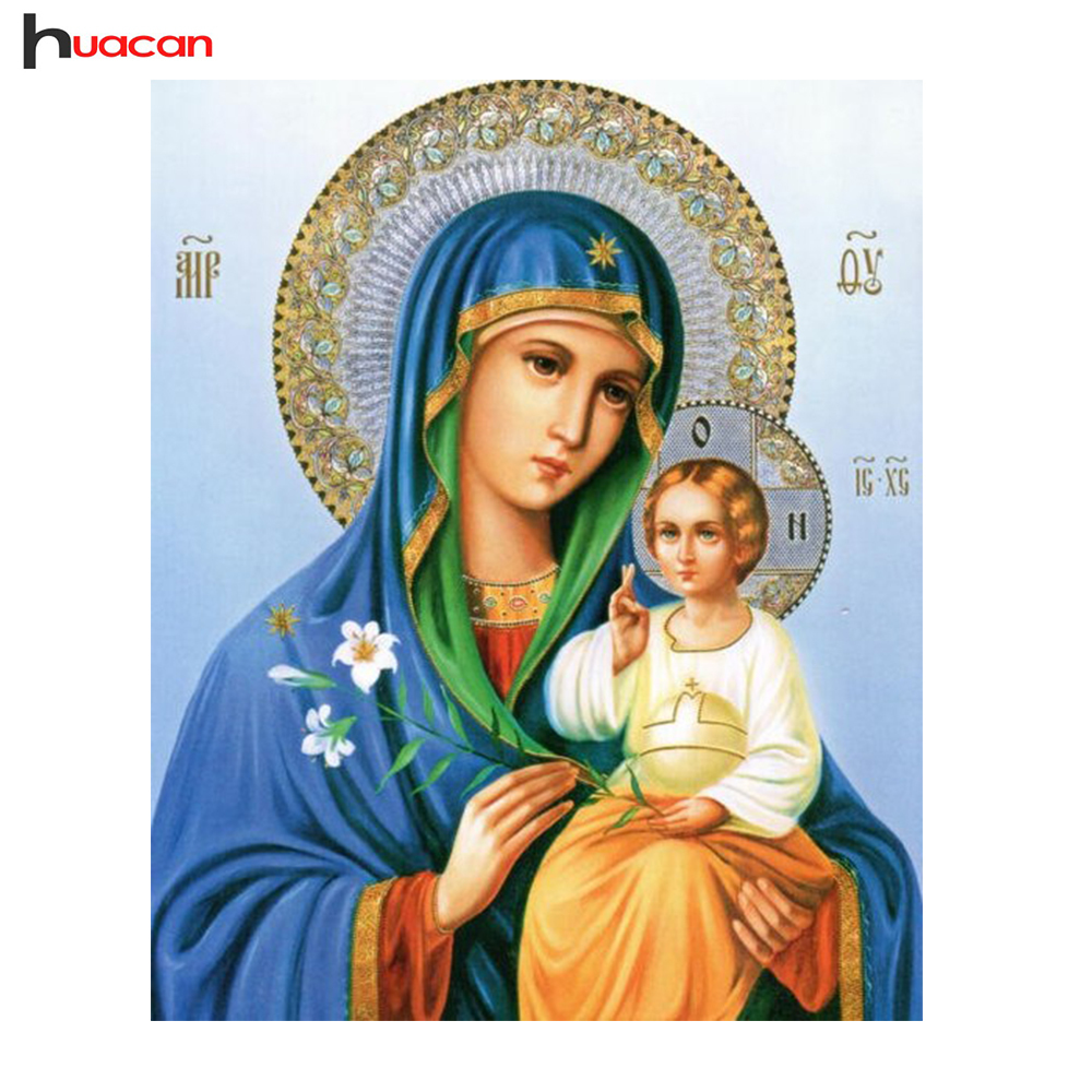 HUACAN Diamond Embroidery Icon DIY 5D Mary and Jesus Needle Gift Rhinestone Pasted Full Square Diamond Painting Religion F1691