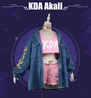 [Pre sale] Anime! Hot Game LOL KDA Akali Illustration Magazine Style Sexy Uniform Cosplay Costume Daily Suit Free Shipping