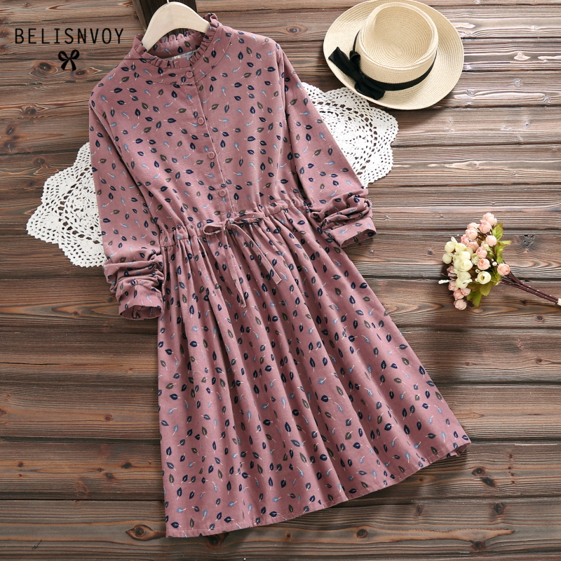 Robe Femme 2019 Spring Autumn Vintage Vestidos Women Elbise Casual Loose Long Sleeve Leaves Printed Drawstring Waist Dresses
