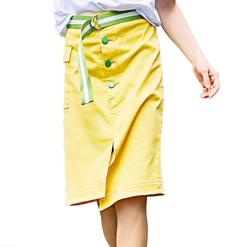 Cotton Irregular Skirt Women Yellow Simple Skirts With Belt 2017 Summer Button Pocket Slim Fit Skirt