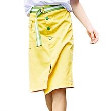 Algodão Irregular Saia Mulheres Saias Com Cinto Amarelo Simples 2017 Bolso Botão Verão Slim Fit Saia Na Altura Do Joelho Saias Das Senhoras