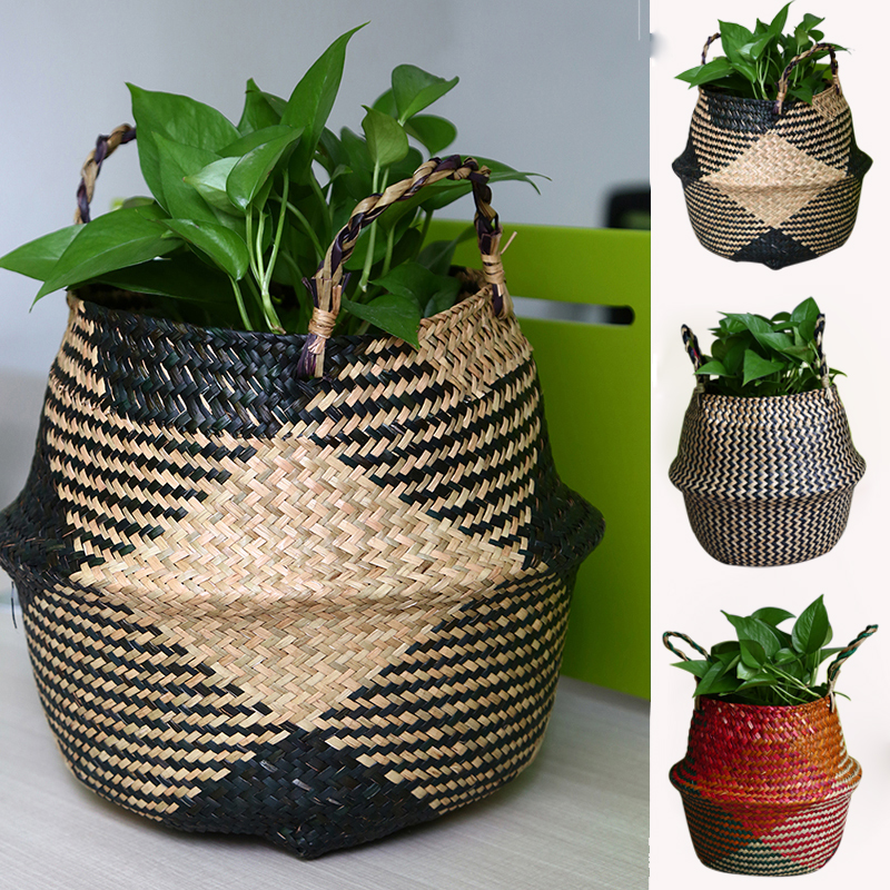 WHISM Foldable Handmade basket Seagrass Belly Rattan Storage Basket Wicker Storage Garden Flower Pot Planter Laundry Basket