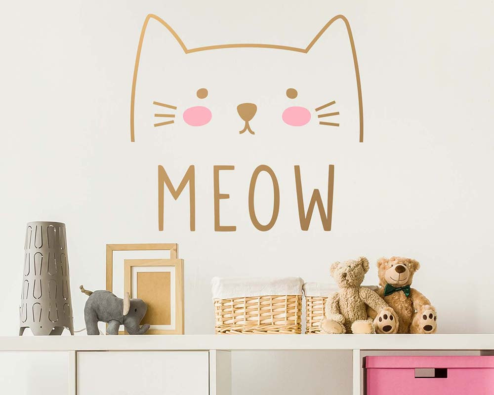 Wall Decal Vinyl Cute Cat Meow Sticker For Kids Girls Room