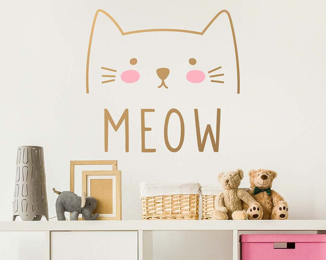 Wall Decal Vinyl Cute Cat Meow Sticker For Kids Girls Room
