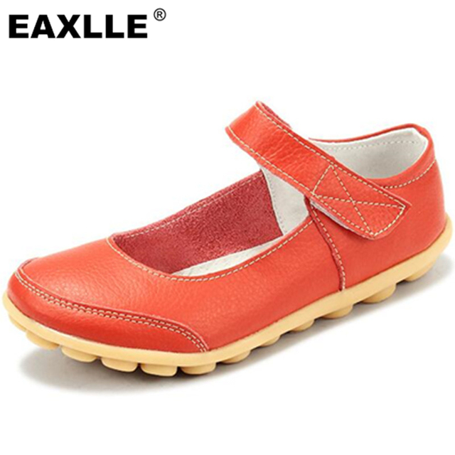 Plus Size 43 Spring\Autumn Fashion Genuine Leather Shoes Woman Flats Work Classi Fashion Hook Female Casual Ballet Ladies Shoes
