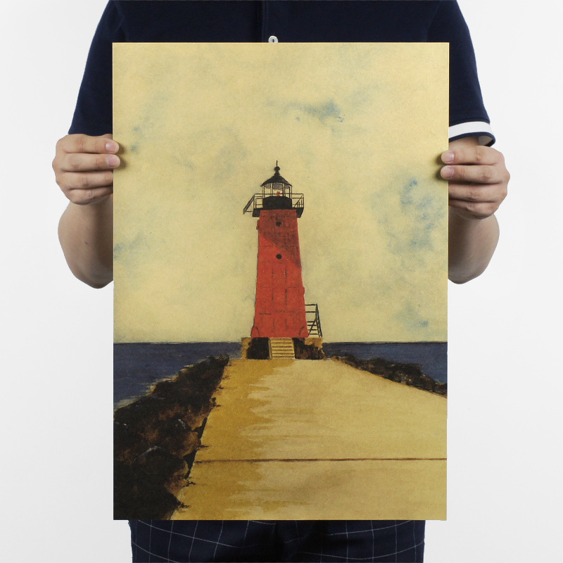 Forever promise B/good view / Lighthouse/kraft paper/bar poster/Retro Poster/decorative painting 51x35.5cm