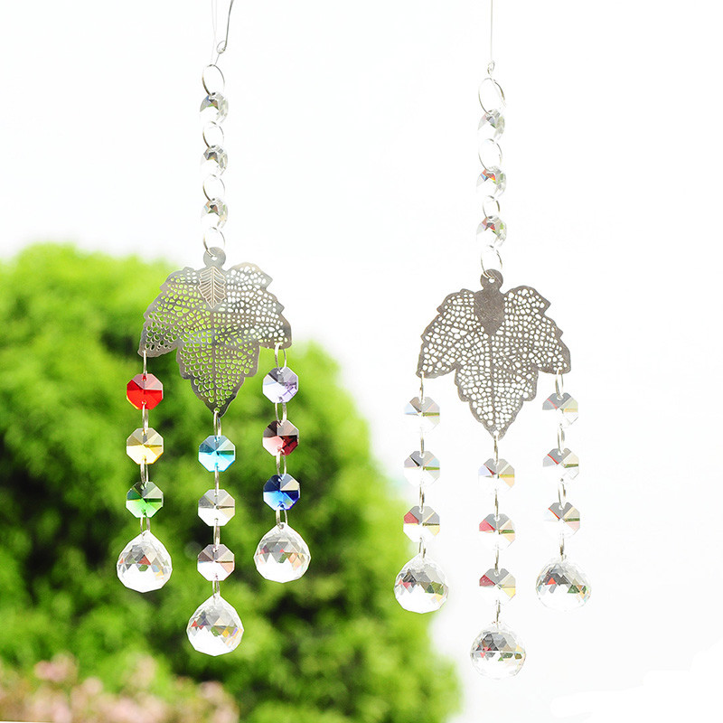 2pcs Metal Leaves Christmas Tree Hanging Pendants Chandelier Part 20mm Crystal Ball Rainbow Maker Suncatcher Wedding Decoration