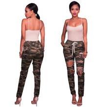 New hot fashion camouflage womens jeans army green casual trousers Slim hole high waist