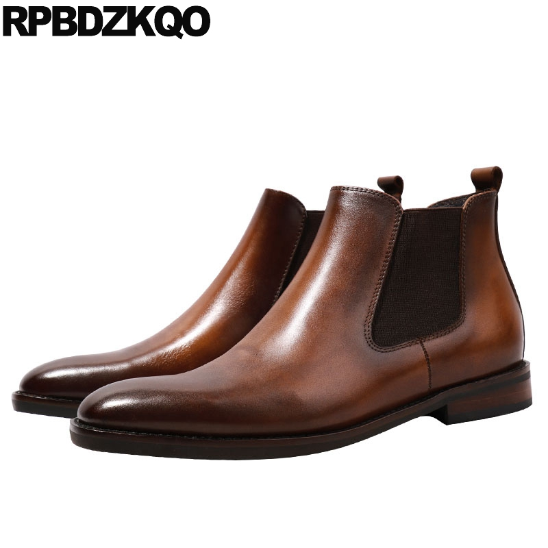 Full Grain Leather Boots Chelsea Ankle 2017 Durable Short Handmade Brown Booties Men Autumn Shoes Genuine Comfortable Male