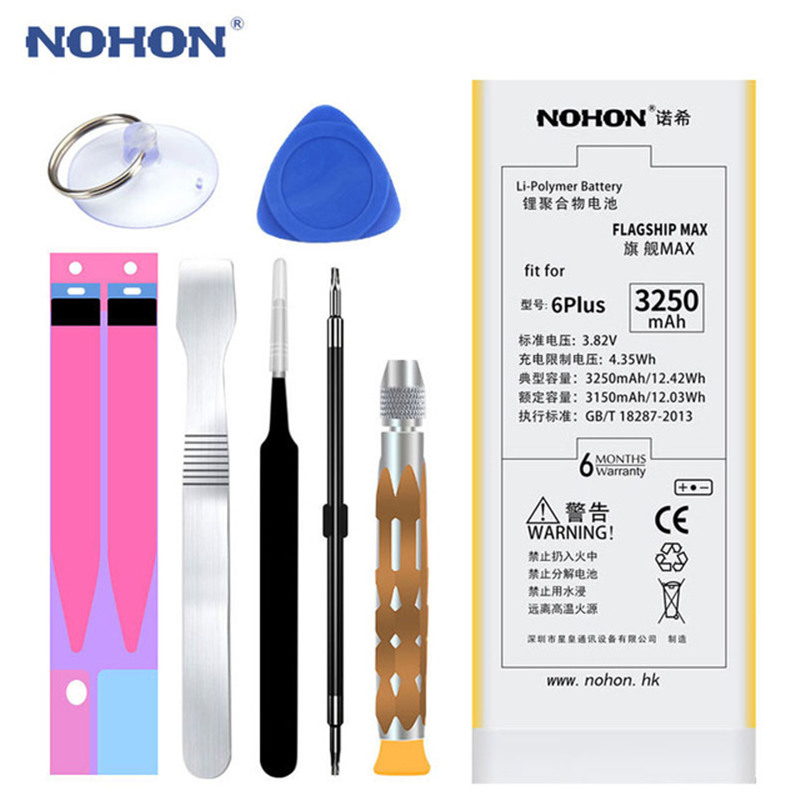 NOHON Li-Ion-Battery Mobile-Phone-Replacement 6plus IPhone 3250mah For Max-Capacity Free-Tools