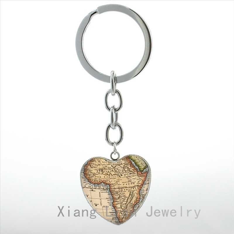 אופנה אפריקה מפת תליון לב מפתח שרשרת טבעת בציר עולם נסיעות אהבה אפריקאי תכשיטי Galaxy הערפילית keychain גברים נשים HP175