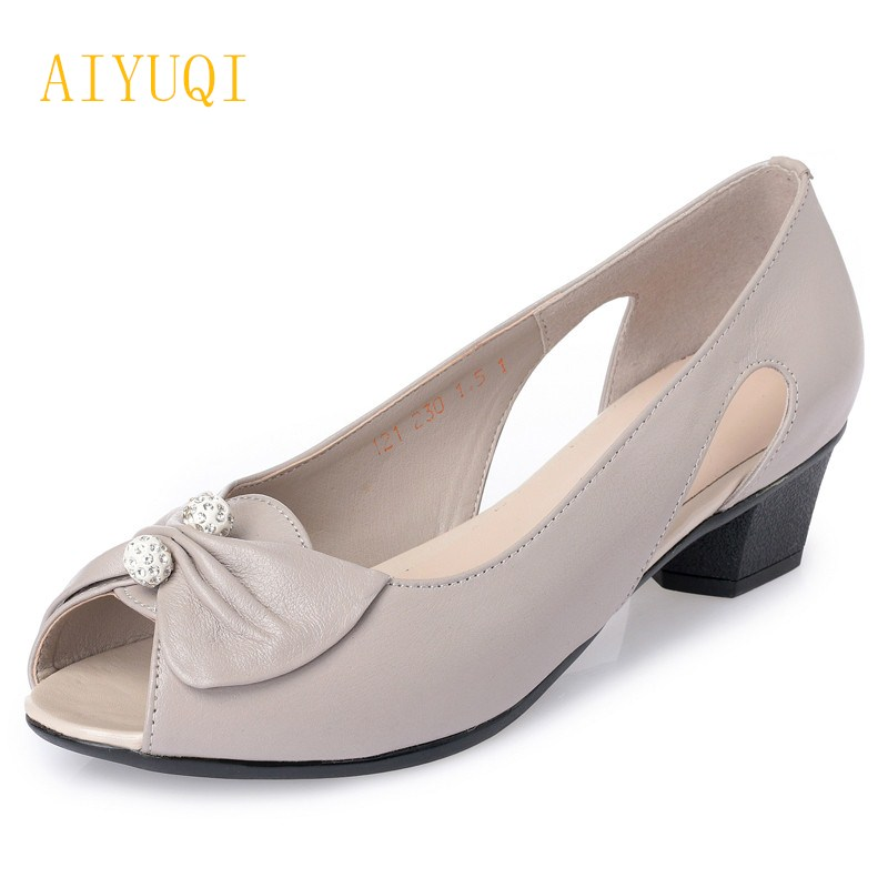 AIYUQI2018 new genuine leather women summer sandals, comfortable fish casual mouth plus size 42#43#mother sandals,shoes female aiyuqi2018 new genuine leather women summer sandals comfortable fish casual mouth plus size 41 42 43 mother sandals shoes female