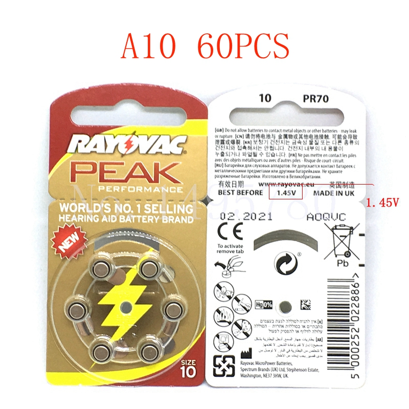 60 Pcs NEW Zinc Air 1.45V Rayovac Peak Zinc Air Hearing Aid Batteries A10 10A ZA10 10 S10 60 PCS Hearing Aid Batteries стоимость